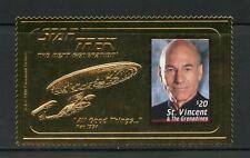 ST.VINCENT GREN. STAR TREK NEXT GENERATIONS PICCARD  COLORIZED GOLD FOIL STAMP