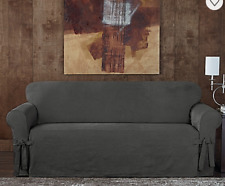Sure Fit Sofa Slipcover Everyday Chenille Collection One Piece in Gray