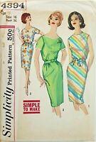 Simplicity 4394 Belted Summer Day Dress Sz 16 CUT COMPLETE VTG Mad Men Era 60s