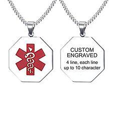 Vincenza Personalised Custom Stainless Steel Pendant Medical Alert ID Tag UK