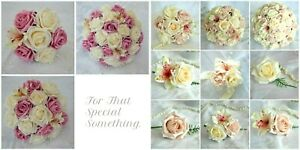 Wedding Bridal Bouquet Bridesmaid Posy Flowers. Dusky Rose Pink & Dark Dusky NEW