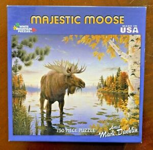 """White Mountain Puzzles """"Majestic Moose"""" ~ 750 Piece ~ New / Factory Sealed"""