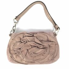 YVES SAINT LAURENT Suede Handbag Purse Dusty Rose Front Ruffle Flower NEW W/TAGS