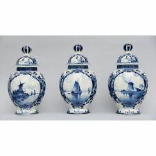 Three Antique Hand Painted Blue & White Porceleyne Fles Delft Lidded Jars