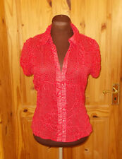 WALLIS PETITE red ivory spotted polka dot chiffon short sleeve blouse top 10 38