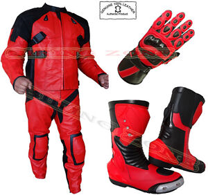 THE 'DEADPOOL' STYLE MENS ARMOUR RED/BLACK MOTORBIKE/MOTORCYCLE JACKET & SUIT