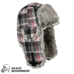 Mad Bomber Wool Bomber Hat (XL)- Black & Grey Plaid/Gry Faux Fur