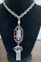 Serlo Vintage Asian Inspired Necklace Gorgeous Face And Dragon Tassel Drop