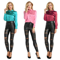 Women Office OL Satin Slim Loose Casual Blouse Wrap Tops Shiny Plain Top Blouse
