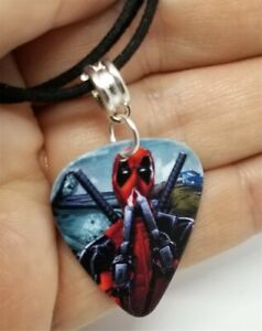 Deadpool Guitar Pick Necklace on Black Suede Cord