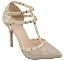 Wild Diva Women Stiletto Heels Pointy Toe Studded Pumps Strap Beige Nude ADORA64