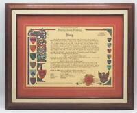 Vintage Framed Haig Family Crest Coat of Arms Last Name Surname History Mean