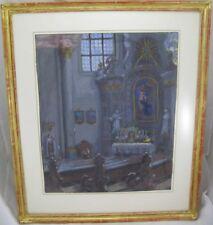 Gouache Gemälde Innenansicht Kirche / Kathedrale mit Altar 1943 - Signiert