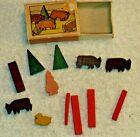 Vintage Putz Matchbox Farm Animals & Mini Wood Figures Box Erzebirge W. Germany