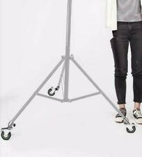 Heavy Duty Rubber Castor Wheels x3 Swivel Brake Photo Studio Tripod Light Stand