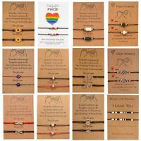 2Pcs/set Rainbow Sunflower Love Heart Bracelet Rope Couple Friendship Women Gift