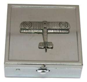 Biplane Square Pill Trinket Box Chrome with Mirror Gift 33