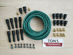 DIY Universal Cloth Covered Spark Plug Wire Kit Set Vintage Wires v6 v8 Green Bk