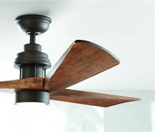 "Carved Wooden 3-Blade 60"" LED CEILING FAN + REMOTE Industrial Light Rustic Cabin"