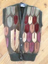 Vintage 1980s Beth Brett London Suede, Leather & Wool Waistcoat, XS, VGC