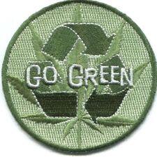 "Go Green Iron On Patch 3"" Free Shipping Weed Marijuana Stoner P-3192"