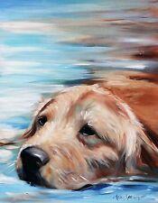 MARY SPARROW Golden Retriever Swimming yellow dog PRINT from Original oil art