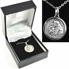 More details for st saint anthony medal necklace pendant necklet gift boxed silver plated new