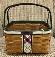 Longaberger 2013 PLAID TIDINGS Christmas Collection GREEN Large Basket +LINER