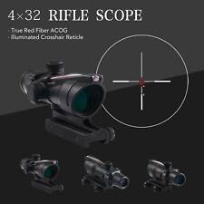 4x32 Tactical ACOG Rifle Scope with True Fiber Optic Red Illuminated Crosshair