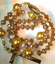 ANTIQUE VINTAGE STYLE GOLD CHAMPAGNE CRYSTAL CATHOLIC PRAYER JEWELRY  ROSARY