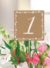 Rustic Wedding Table Numbers 1-20 Card Mrs Bride To Be Centerpiece Kraft Shabby