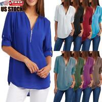 Women's Chiffon Loose Tops Long Sleeve Sexy V Neck T Shirt Casual Blouse Shirt