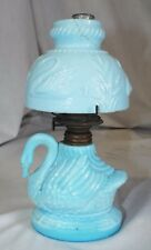 RARE Antique Blue Milk Glass SWAN Figural MINIATURE OIL LAMP w/ Shade COMPLETE