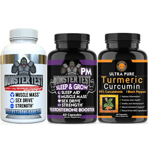 Monster Test Testosterone Booster for Men, Monster PM +Turmeric (3pk) Gym Combo
