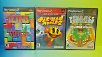 Tetris Worlds Pac-Man World 2 Pinball Hall of Fame PS2 Playstation 2 Lot Tested