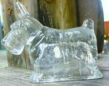 Vntg B. Shackman & Co Dog Clear Glass Candy Container figurine Scottish Terrier