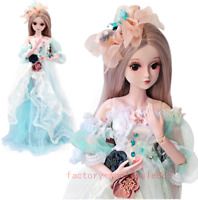 Female 60CM Ball 1/3 BJD Jointed Doll Eyes Free Face Make Up Clothes Full Sets @