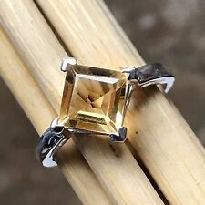 Natural 1.5ct Golden Citrine 925 Sterling Silver Solitaire Princess Cut Ring sz8