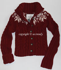 NWT! ABERCROMBIE Womens Vintage Hand Knit Cable Cardigan Sweater Burgundy L $180