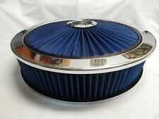 """SPECTRE 47626 14"""" Extra Flow Chrome Air Cleaner Assembly Washable Blue Filter"""