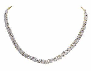 "Diamond Mariner Cuban Choker Chain Necklace 10K Yellow Gold 2 3/4 CT 21"" 6MM"