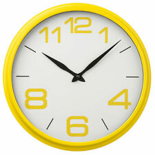 New Yellow White Wall Round Clock Time Retro Design Child Bedroom Kitchen Home