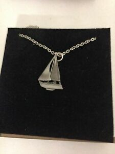 Yacht R90 English Pewter on a Silver Platinum Plated Necklace 18""