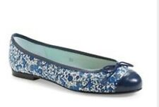 London Sole Women's Blue Floral Print Capped Toe Ballet Flats 5.5 $200 *ns5/20