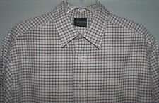 Cambridge Classic Cream Short Sleeve Shirt with Red and Black Pin Stripes Size L