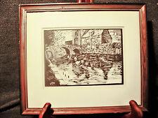 Antique Signed Framed Woodcut of Bruges Belgium J.D.H. Swans on Canal By Bridge