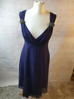 LK Bennett Navy Blue Silk V Neck Sleeveless A-Line Midi Dress Size 12