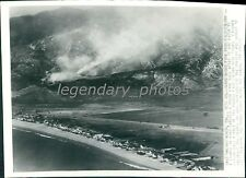 1936 Wind Blows Fire from Film Colony in California Original Wirephoto