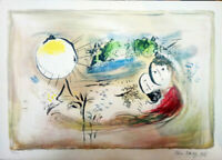 Very Rare Marc Chagall Signed Lithograph Aamazing Painting 69X50 cm