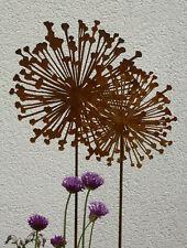 Gartenstecker Blume ALLIUM Zierlauch Blüte Eisen Rostig 4 Größen Rostdekoration